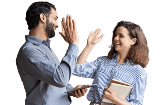 Two happy friendly diverse professionals giving high five standing in office